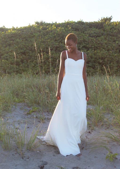 modified a-line crepe wedding gown