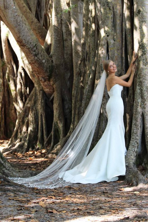 sweetheart contemporary satin strapless wedding gown