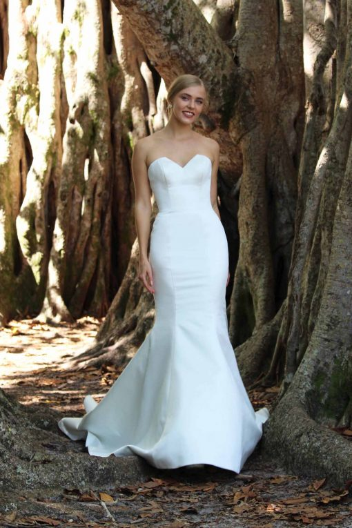 contemporary satin sweetheart wedding gown