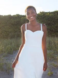 four ply crepe modified a-line gown