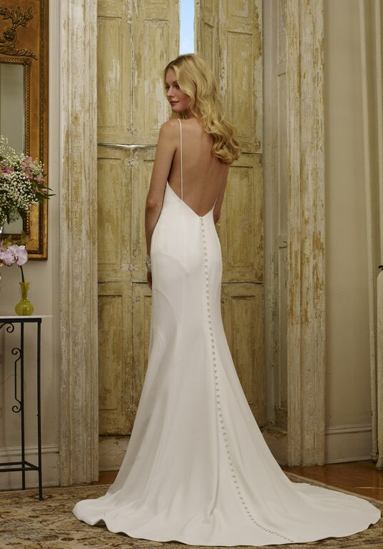 four ply crepe wedding gown low back