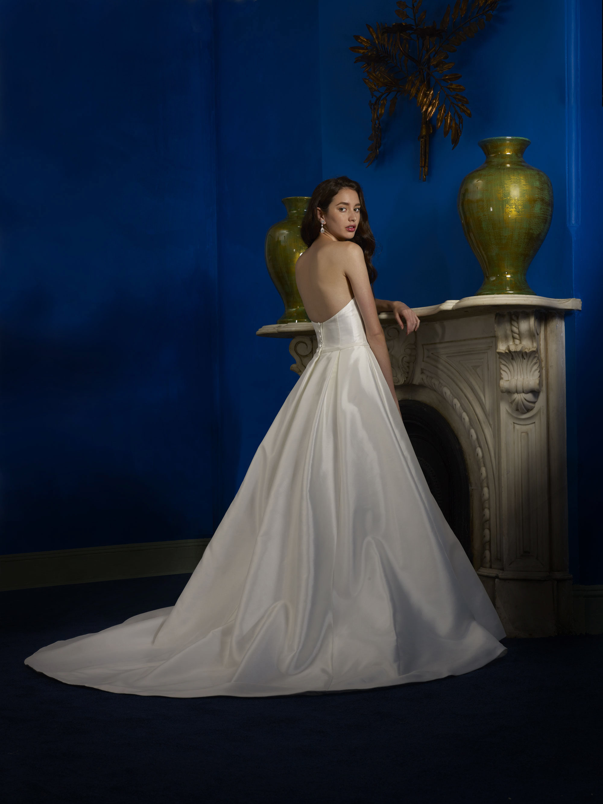 strapless sweetheart pleated ballgown