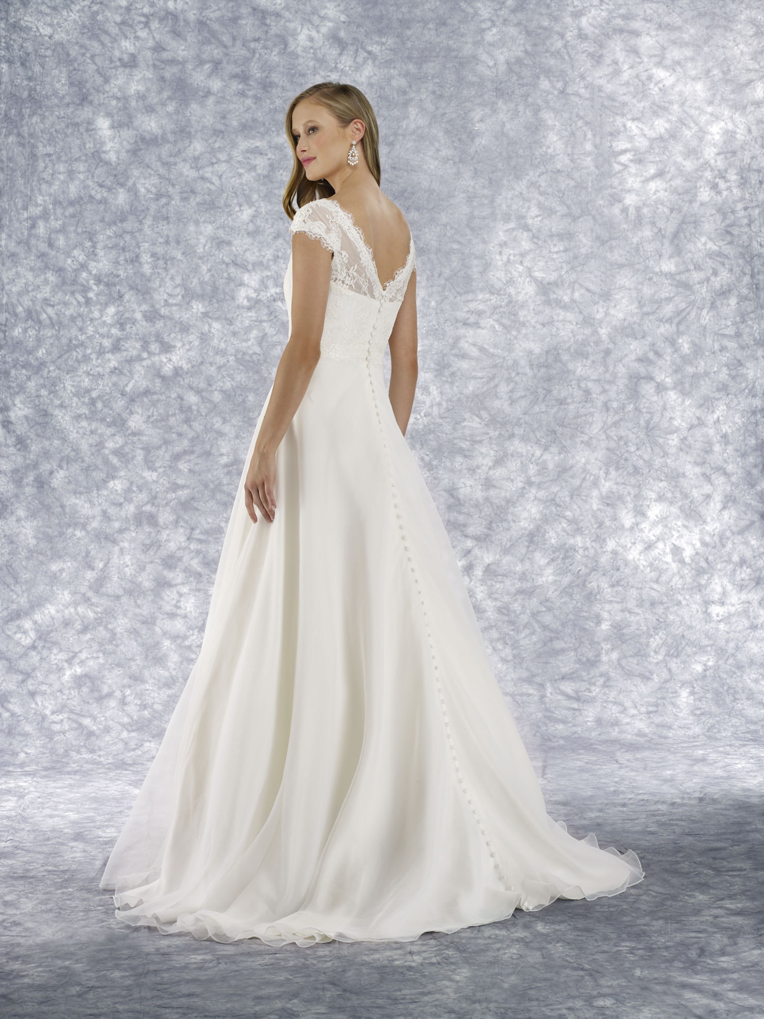 alencon lace cap sleeve gown with a-line skirt