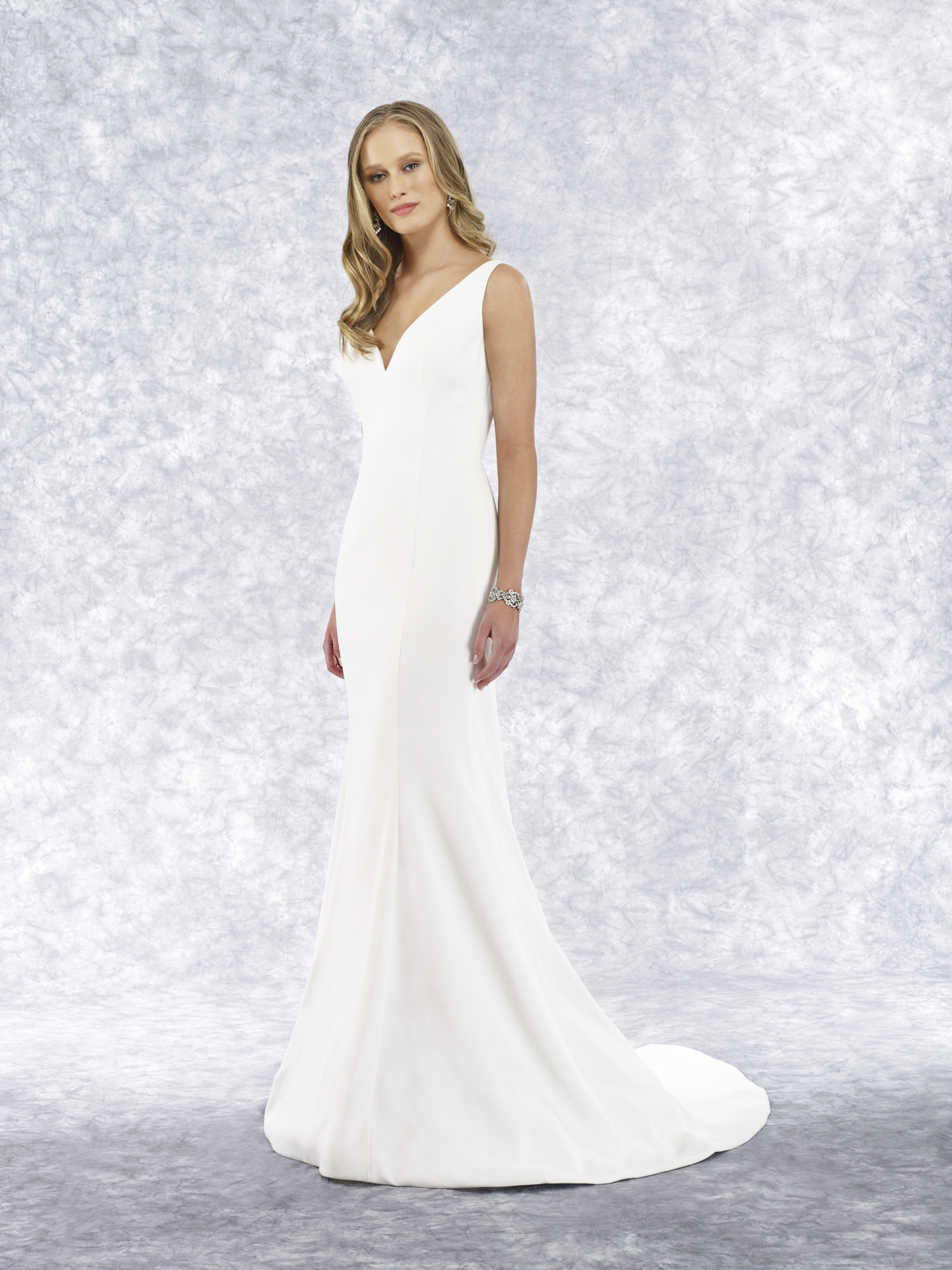 v-neck four ply crepe mermaid gown
