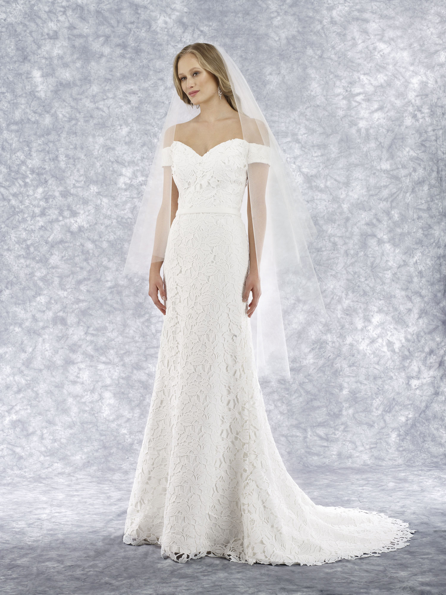 off the shoulder lace slim a-line gown