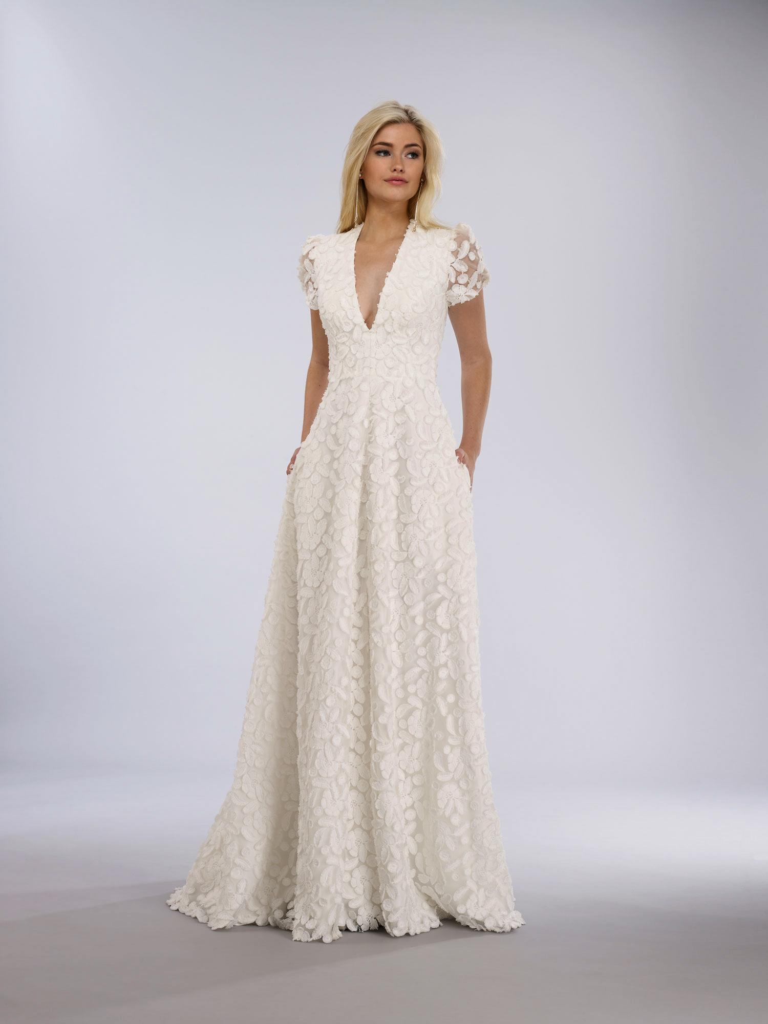 pocket v-neck wedding gown