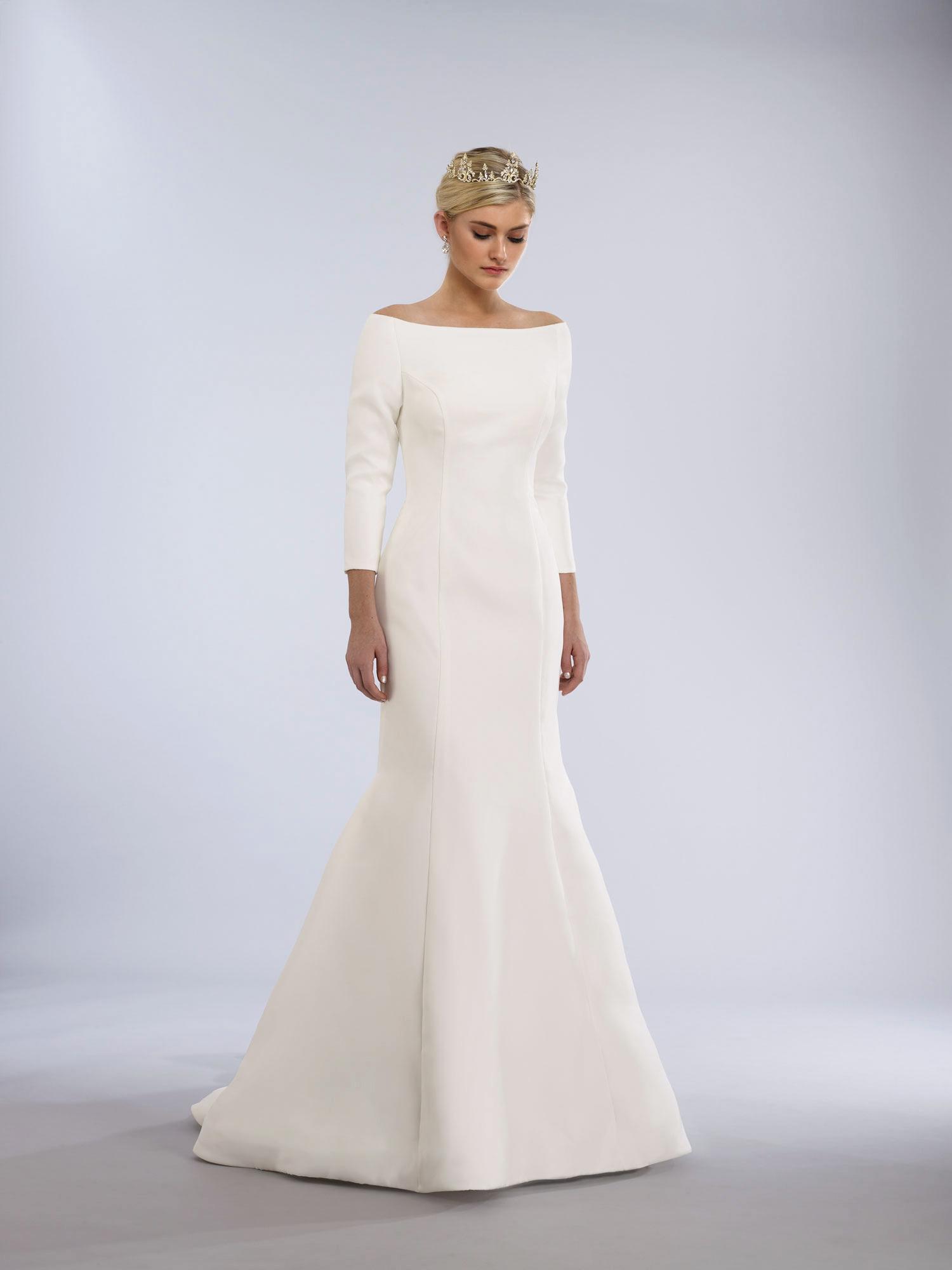 crepe long sleeve wedding gown