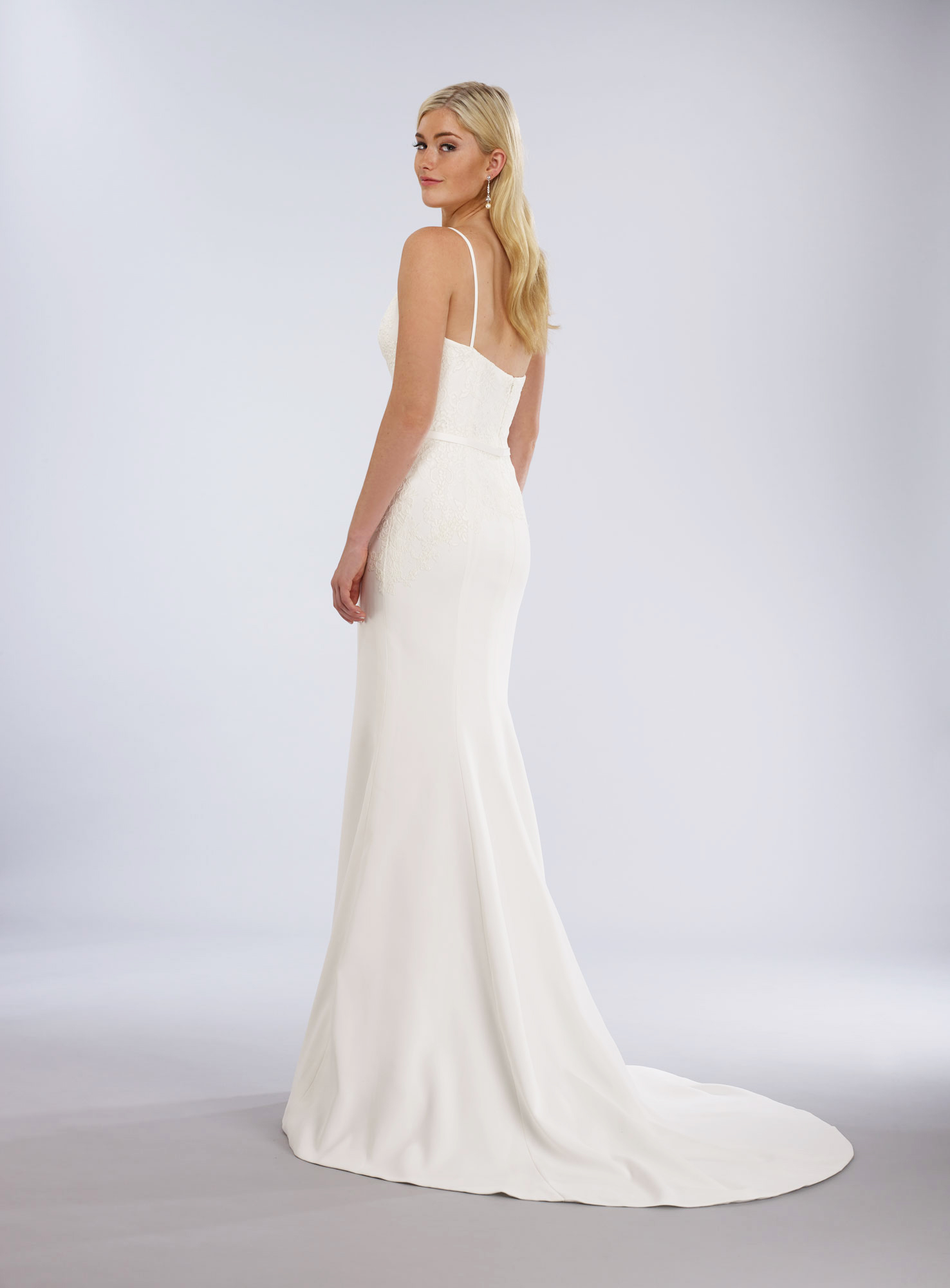 low v-cut neck wedding gown
