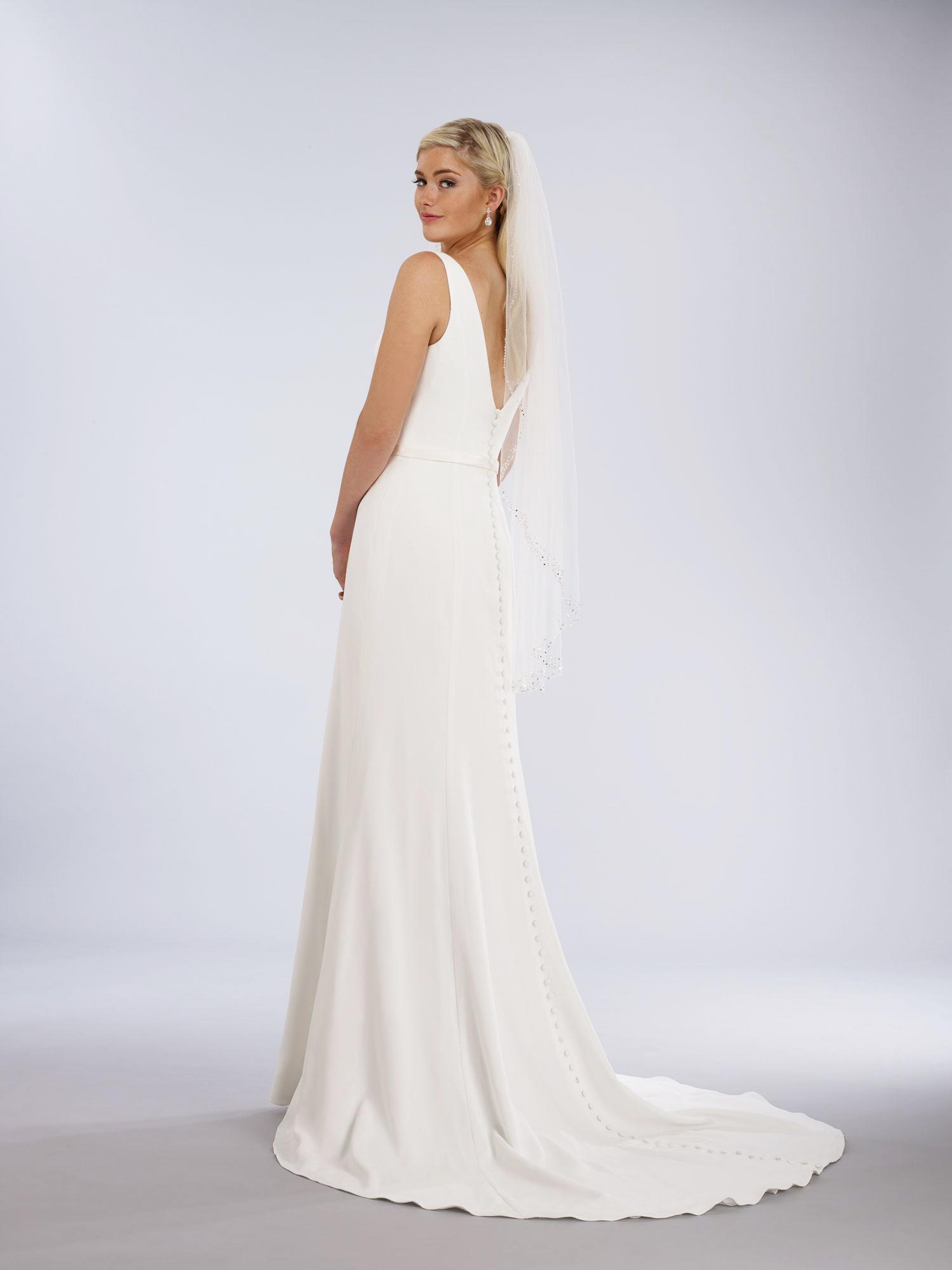 natural waist slim a-line wedding gown