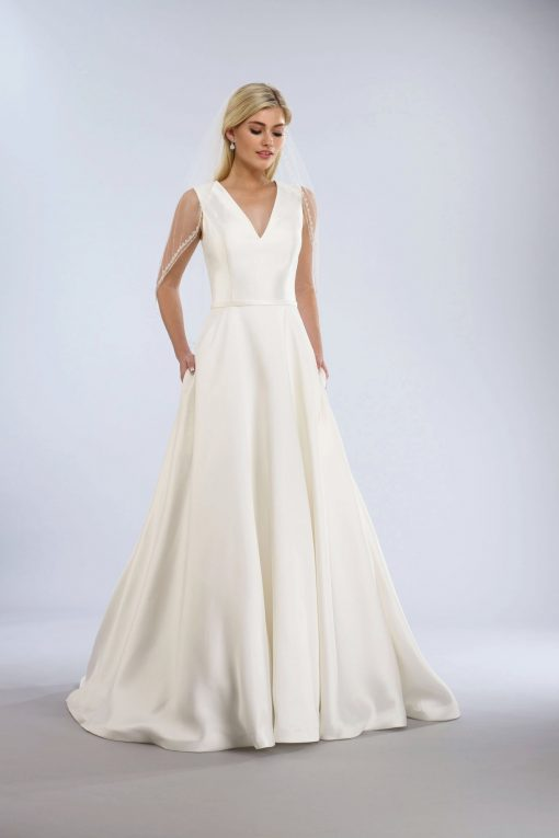 mikado a-line wedding gown with pockets