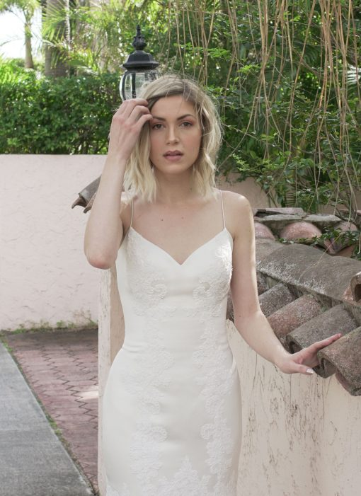 contemporary satin trumpet gown with lace applique