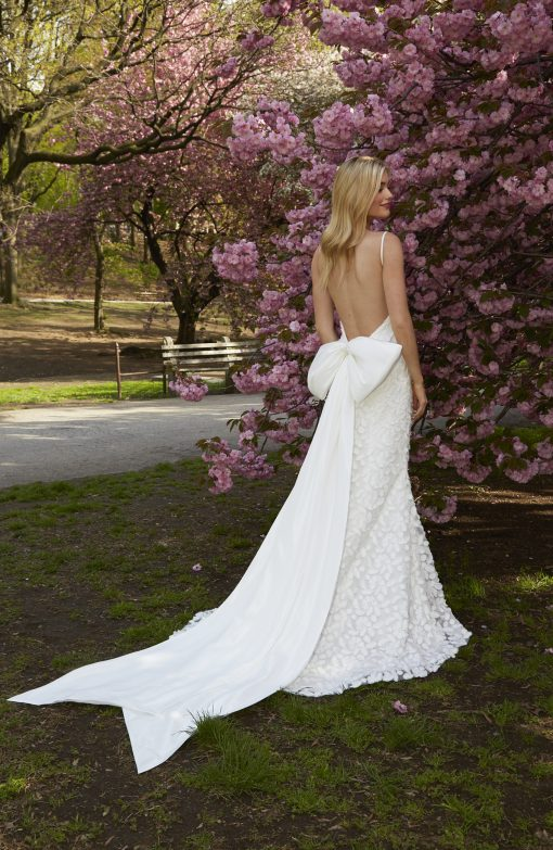 dimensional woven fabric open back wedding gown