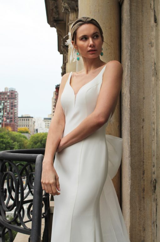 crepe spaghetti strap wedding gown