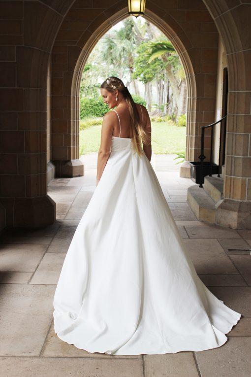 ballerina neckline crepe wedding gown