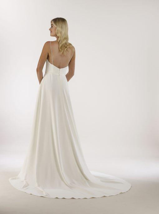 four ply crepe ballerina neckline a-line gown