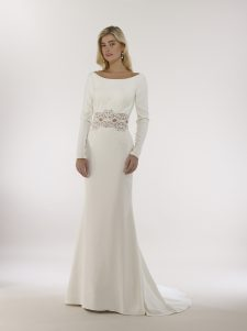 long sleeve crepe wedding with lace inset detail gown