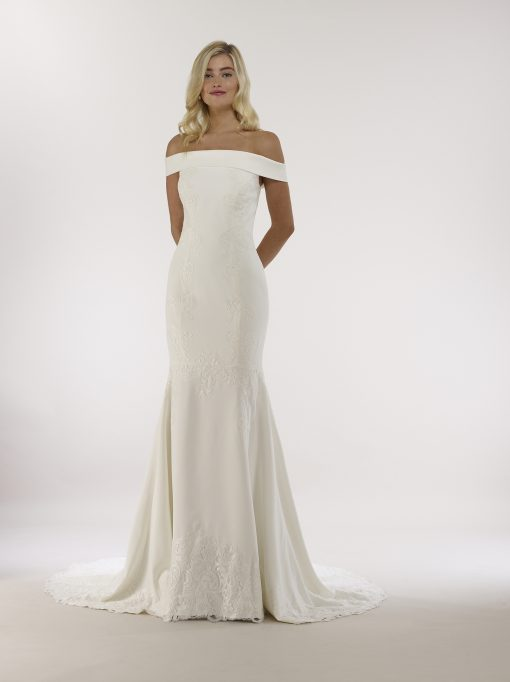 off the shoulder four ply crepe trumpet gown