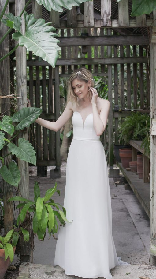 strapless fitted sweetheart chiffon wedding gown