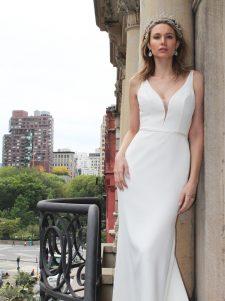 crepe wedding gown