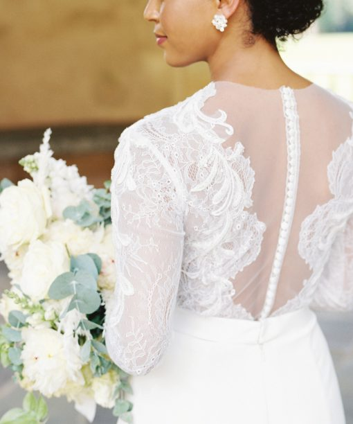 lace detail wedding gown four ply crepe