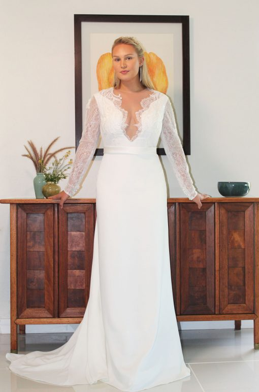 long sleeve lace detailed and four ply crepe wedding dress