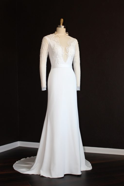 lace crepe long sleeve wedding gown