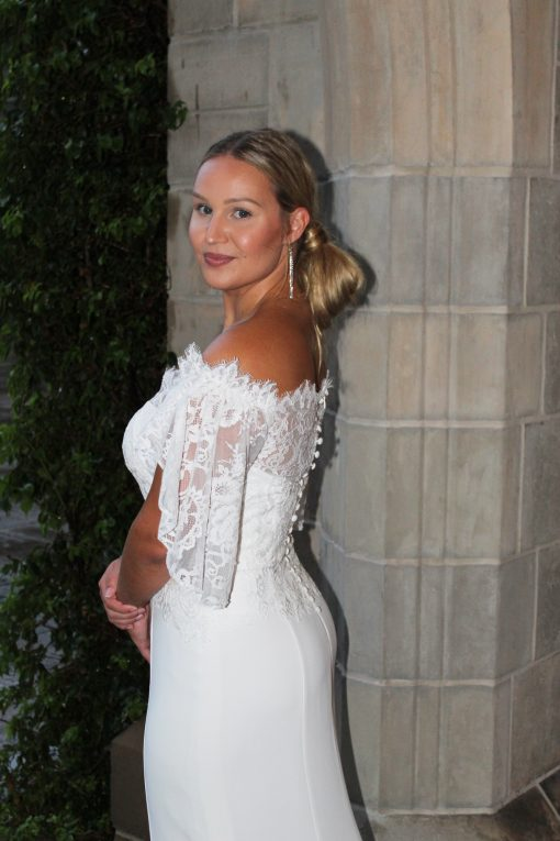 off the shoulder lace wedding gown dress
