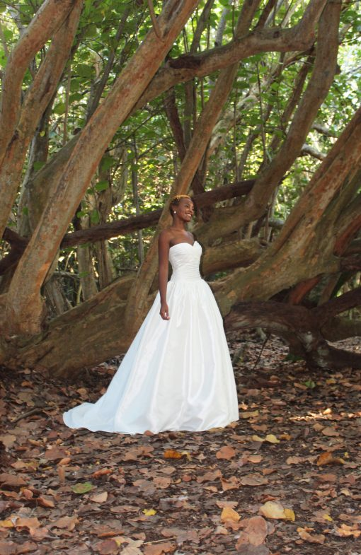 strapless ruched wedding gown dress