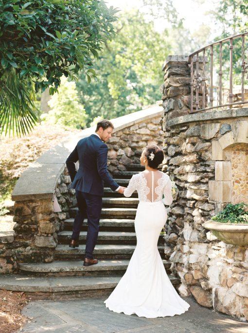 sheer back long sleeve wedding gown