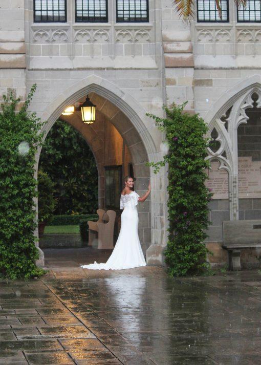 Lace Crepe Mermaid Wedding Gown