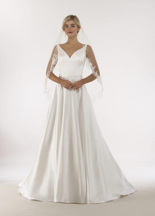 contoured v-neck low back a-line gown