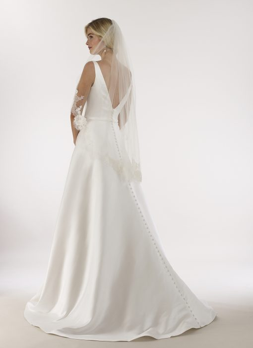 countoured v neck low back a-line gown