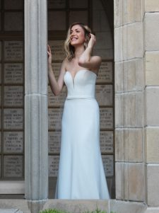 strapless crepe wedding gown robert bullock