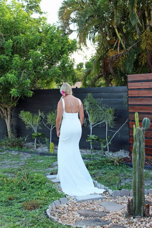 four ply crepe wedding gown dress