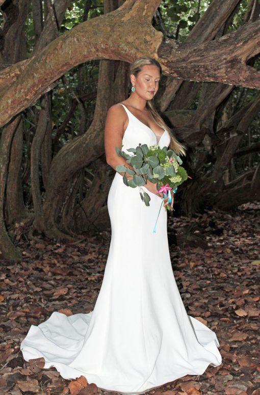 mermaid crepe wedding gown