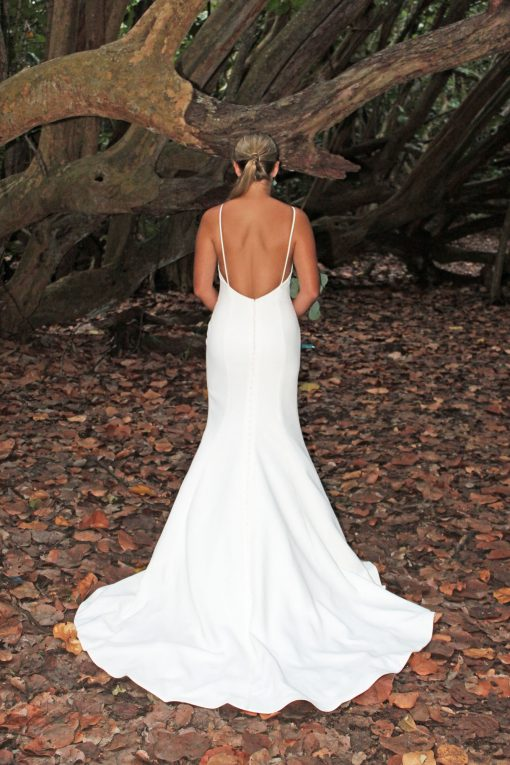 low back crepe wedding gown