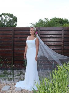 Square neck crepe wedding dress low back gown