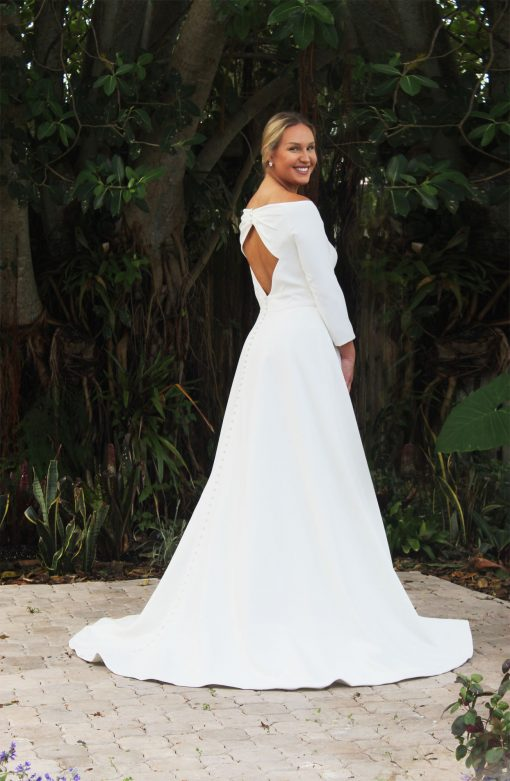 keyhole crepe wedding dress