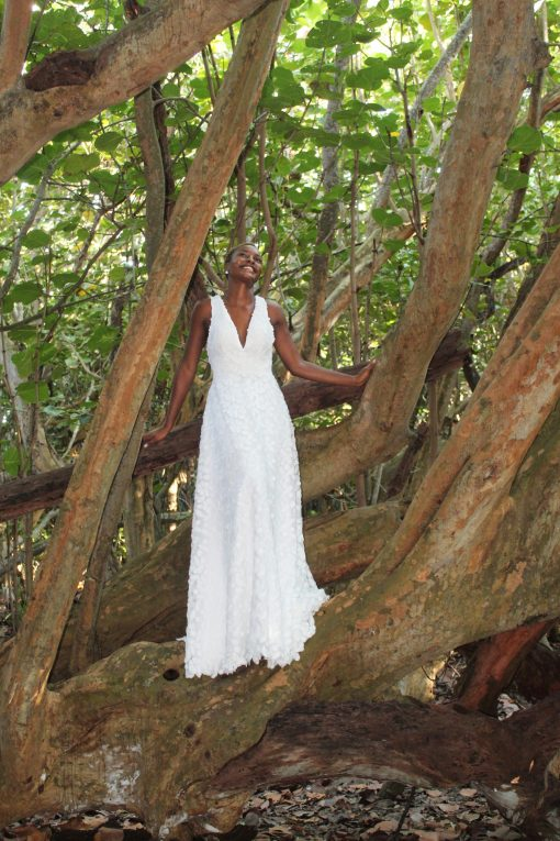 dimensional woven fabric wedding gown