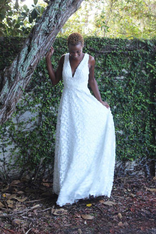 three dimensional fabric wedding gown