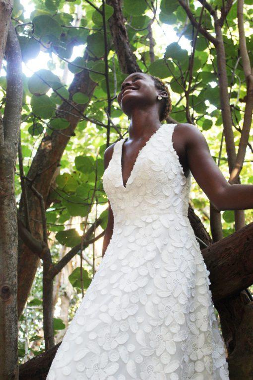 dimensional fabric wedding gown