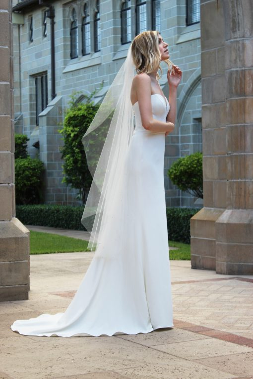 strapless sweetheart four ply crepe mermaid gown