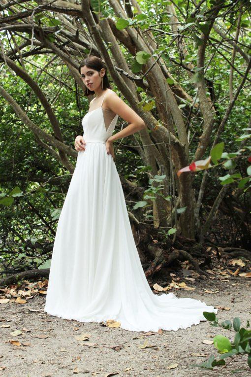 square neck chiffon wedding gown