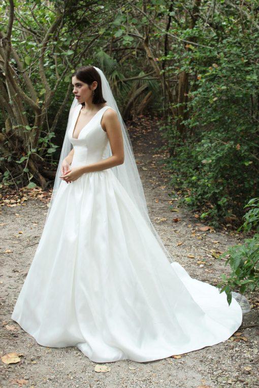 square low cut drop waist ballgown wedding dress