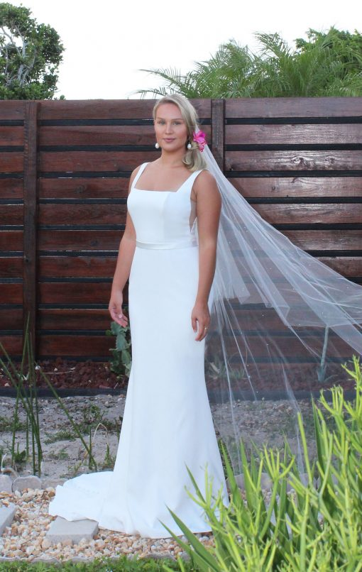 square neck crepe wedding gown
