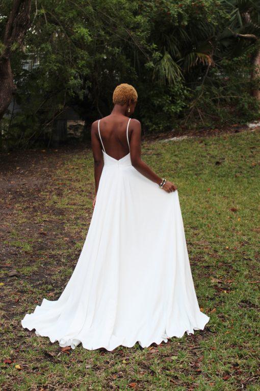 gathered skirt crepe wedding gown