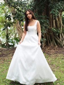 square neck low back wedding gown
