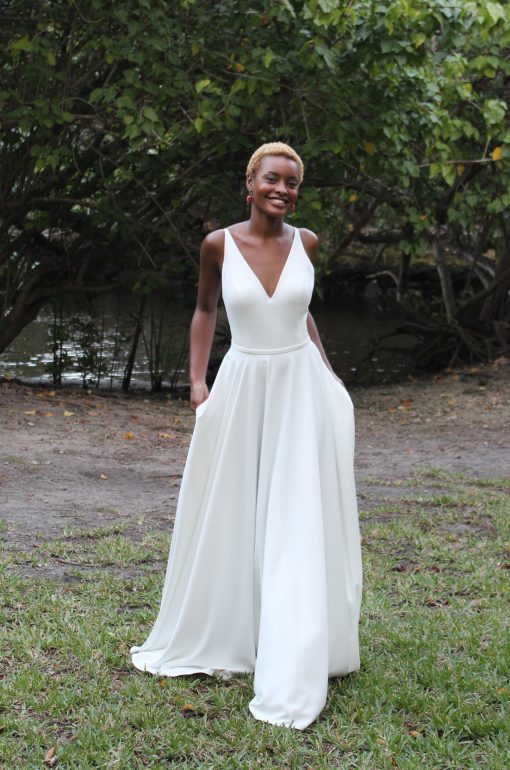 crepe low back wedding gown