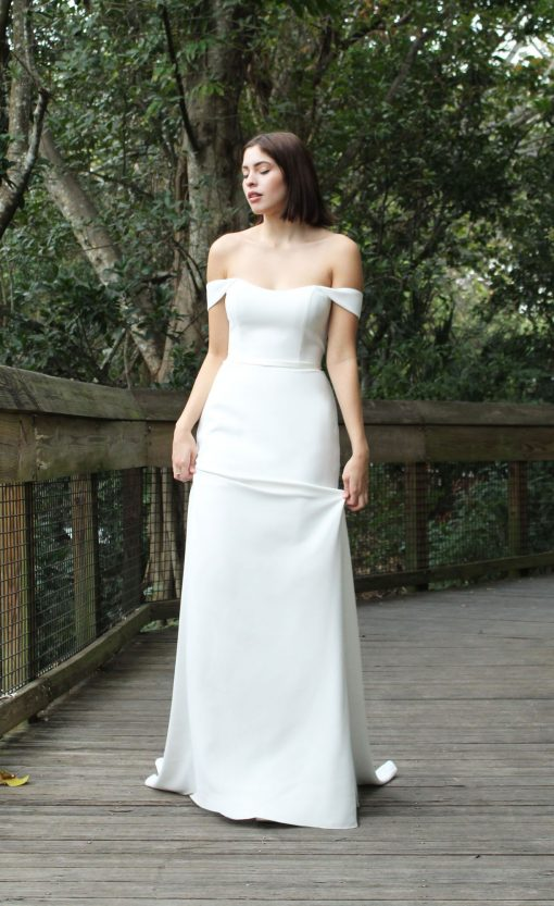off the shoulder mermaid 4 ply crepe wedding gown