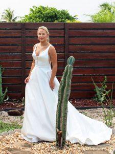 a-line satin wedding gown